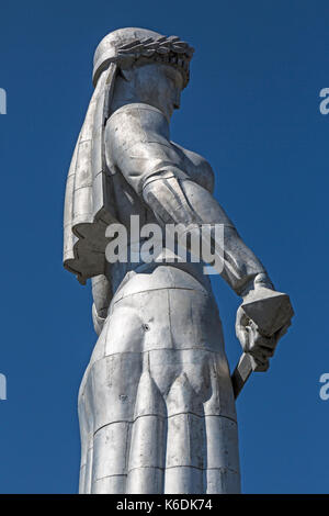 The statue of Kartlis Deda, Mother of Georgia, in Tbilisi. Designed by Georgian sculptor Elguja Amashukel. Situated - Stock Photo