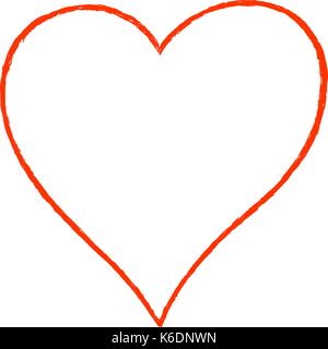 Use it in all your designs. Sketch drawing heart sign with red line contour. Quick and easy recolorable shape. Vector - Stock Photo