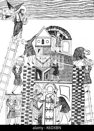 Building of the Tower of Babel. From a Saxon MS p69 - Stock Photo