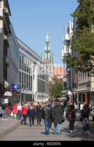 Muenster in Westfalen :  Fussgaengerzone Ludgeristrasse mit stadthausturm I  Street Ludgeristrasse with City House - Stock Photo