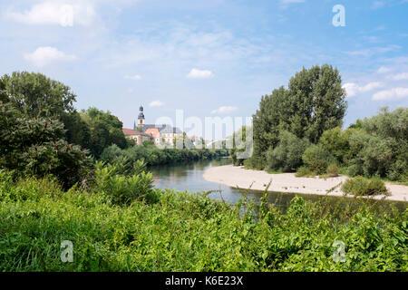 Mannheim-Seckenheim, seen from the Neckar River - Stock Photo