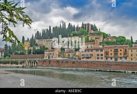 ITALY VERONA LOOKING ACROSS THE RIVER ADIGE TO THE CASTEL SAN PIETRO - Stock Photo