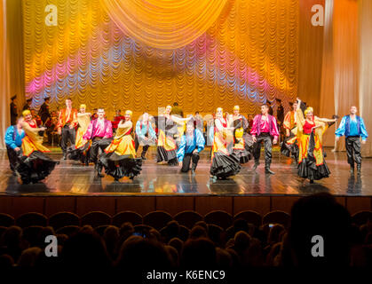 Russian dancers performing on stage in St Petersburg, Russia - Stock Photo