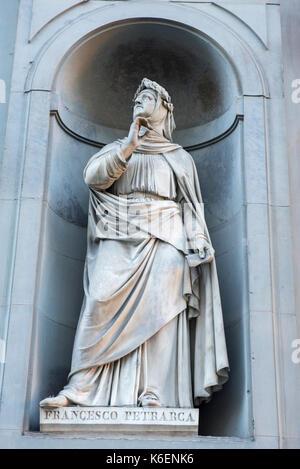 Statue of Francesco Petrarca at the Uffizi Gallery in Florence, Tuscany Italy Europe EU - Stock Photo