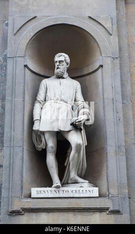 Statue of Benvenuto Cellini at the Uffizi Gallery in Florence, Tuscany Italy Europe EU - Stock Photo