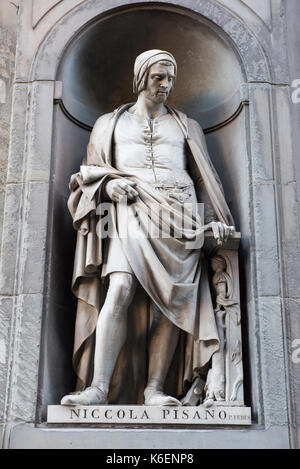 Statue of Niccola Pisano at the Uffizi Gallery in Florence, Tuscany Italy Europe EU - Stock Photo