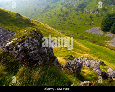 View across Cressbrook Dale a nature reseve and popular walking area in the Peak District National Park Derbyshire - Stock Photo