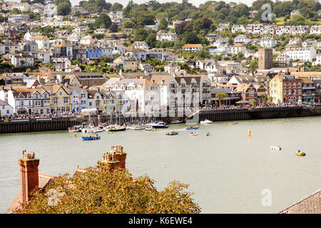Crowds lining the waterfront during the Dartmouth Royal Regatta 2017. Seen from Kingswear. - Stock Photo