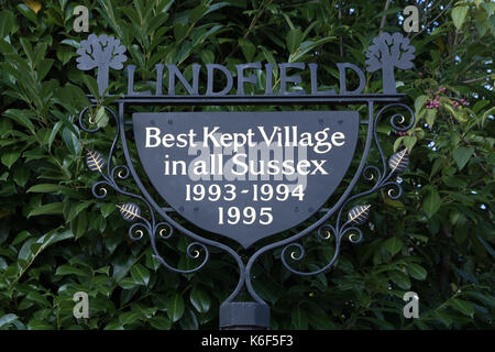Best Kept village Sign in Lindfield West Sussex - Stock Photo