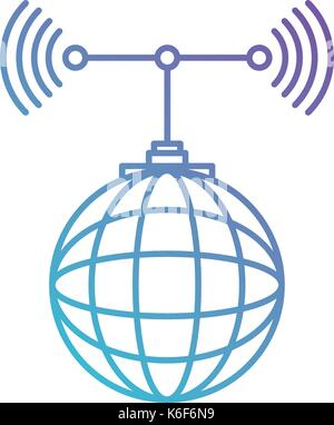 global grid map with antenna in color gradient silhouette from purple to blue - Stock Photo