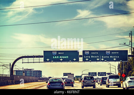 Traffic on 105 freeway westbound. Los Angeles, California - Stock Photo