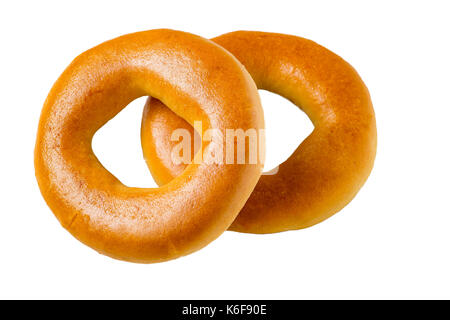 Two bagels on a white background - Stock Photo