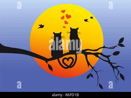 cats sitting on tree branch watching the sunset, vector illustration - Stock Photo