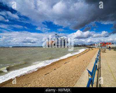 International Trade - containers being loaded and unloaded onto container ships at Felixstowe, the UK's main container - Stock Photo