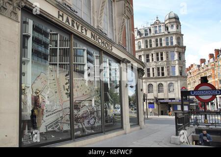 harvey nichols by knightsbridge underground station london - Stock Photo