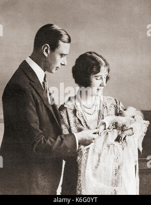The Duke and Duchess of York at the christening of their daughter Princess Elizabeth in 1926.  Prince Albert, Duke - Stock Photo