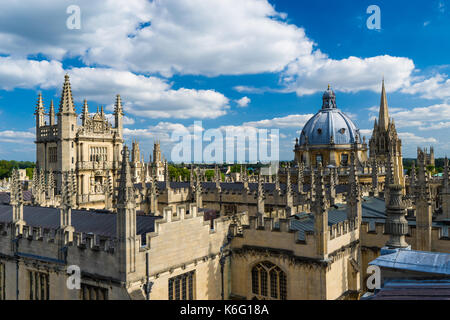 A view of the city skyline from the cupola of the Sheldonian Theater, Oxford, England. - Stock Photo