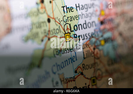 Macro view of London, United Kingdom on Europe map. - Stock Photo