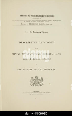 Descriptive catalogue of the mining, metallurgical, geological, and agricultural models in the National Museum, - Stock Photo