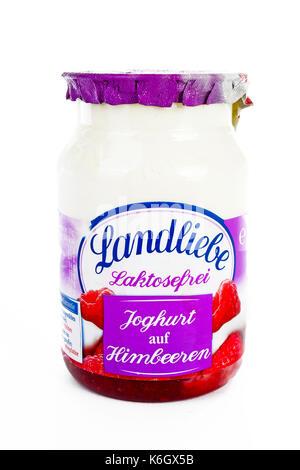 Landliebe joghurt on isolated white studio background. - Stock Photo
