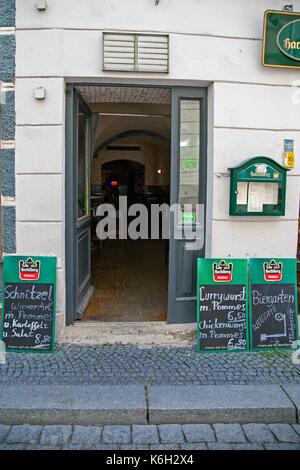 A narrow passage in Passau, Bavaria, Germany.