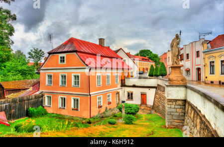 Traditional houses in Telc, Czech Republic - Stock Photo