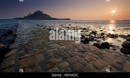 Sunset over St Michael's Mount, Cornwall - Stock Photo
