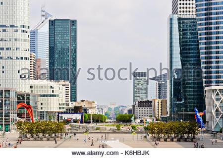 Buildings of La Defense and the Atc de Triomphe, Paris, France - Stock Photo