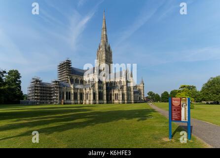 Salisbury Cathedral, Wiltshire, England, United Kingdom, UK - Stock Photo