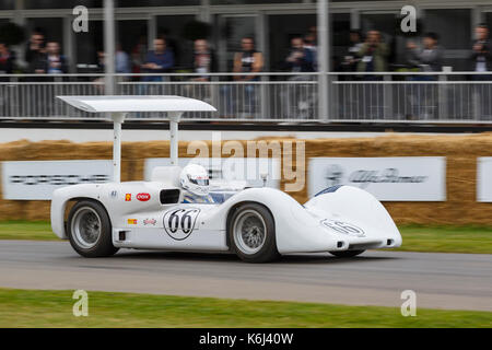 1966 Chaparral-Chevrolet 2E Can-Am racer with driver Jim Hall Jr at the 2017 Goodwwod Festival of Speed, Sussex, - Stock Photo