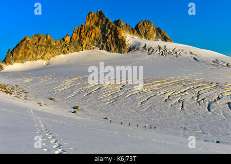 Group of alpinists in the morning sun on the glacier Plateau du Trient beneath the peaks Aiguilles du Tour, Valais, - Stock Photo