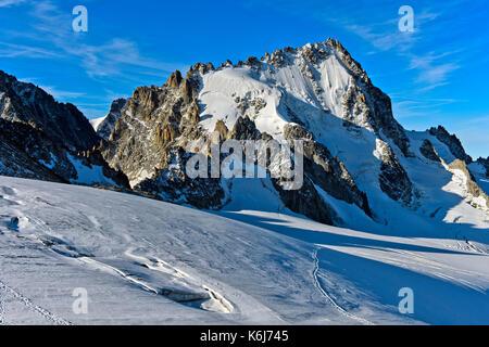 Peak Aiguille du Chardonnet, Glacier du Tour, Chamonix, Haute-Savoie, France - Stock Photo