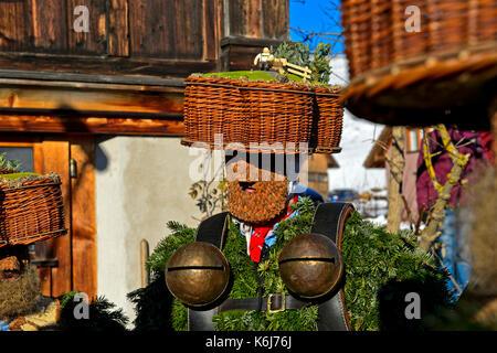 Pretty-Ugly Silvesterklaus with jingle bells, Urnäsch Silvesterchläuse at Old Sylvester, Urnäsch, Canton Appenzell - Stock Photo