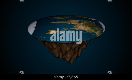 Space background with flat earth. Digital illustration - Stock Photo