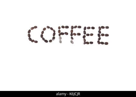 The word coffee made from coffee beans, isolated on white - Stock Photo