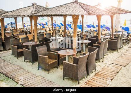 Leptokaria, Greece - June 17, 2014: Cafe on the beach, Leptokaria, Greece - Stock Photo