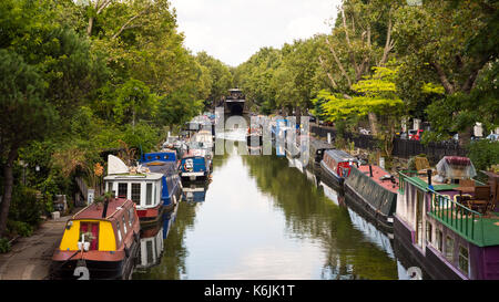 London, England, UK - August 29, 2016: Traditional narrowboats and houseboats moored on the Regent's Canal at Little - Stock Photo