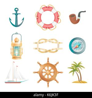 Cartoon vector nautical elements. Highly detailed. All objects are conveniently grouped - Stock Photo