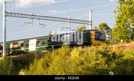 Reading, England, UK - August 29, 2016: Thames Turbo diesel multiple units at Goring in Berkshire, under new electrification - Stock Photo