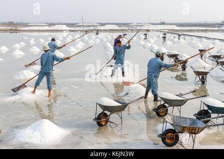 NHA TRANG, VIETNAM - 4/12/2016: Workers make salt piles at the Hon Khoi salt fields in Nha Trang, Vietnam. - Stock Photo