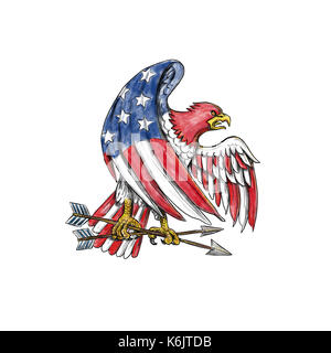 Tattoo style illustration of an American Bald Eagle with USA stars and stripes flag on body and wing clutching arrow - Stock Photo