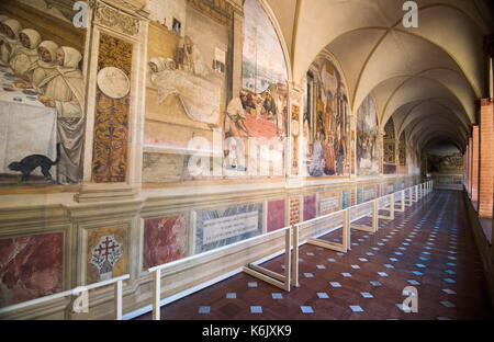 Frescos in the Cloisters of the Abbazia di Monte Oliveto Maggiore, Tuscany Italy - Stock Photo