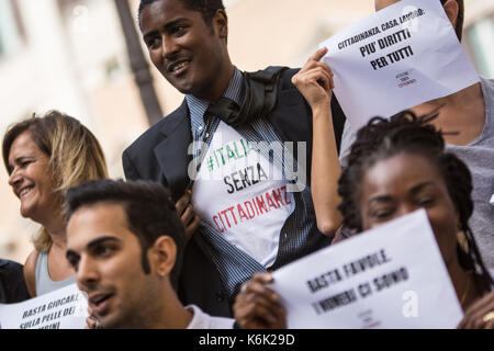 Rome, Italy September 12 ,2017 ' Demonstration in favor of the ius soli  in Piazza Montecitorio, Rome.li Italy, - Stock Photo
