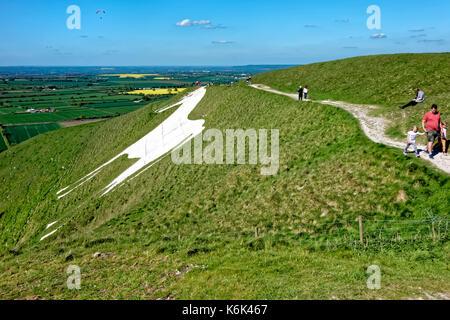 The Westbury White Horse, Wiltshire, United Kingdom. - Stock Photo