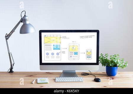 Responsive web design development technology concept with desktop computer in modern bright office and website wireframe - Stock Photo