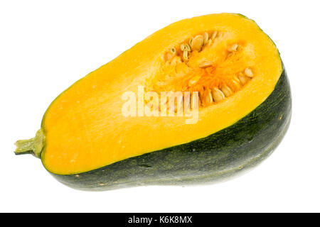 Muscat pumpkin, cut in half, isolated on white background. Studio Photo - Stock Photo
