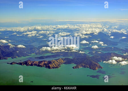 Aerial View of Fighting Bay and Queen Charlotte Sound in the  Marlborough Sounds of New Zealand - Stock Photo