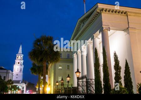 Charleston South Carolina SC Historic Downtown Meeting Street Hibernian Hall Doric columns Saint Michael's Church - Stock Photo