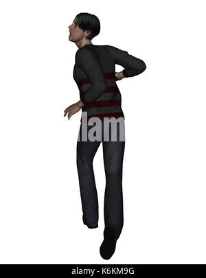 3d rendering of a man running away from something scary - Stock Photo