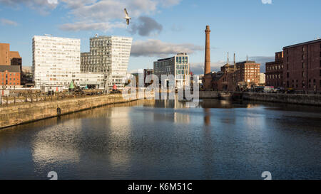 Liverpool, England, UK - November 11, 2016: Sun shines on the redeveloped Canning Dock, now home to offices, apartments - Stock Photo